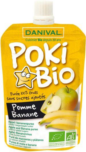 Poki - Przecier Jabłkowo-Bananowy 100% Owoców Bez Dodatku Cukrów Bio 90 g - Danival