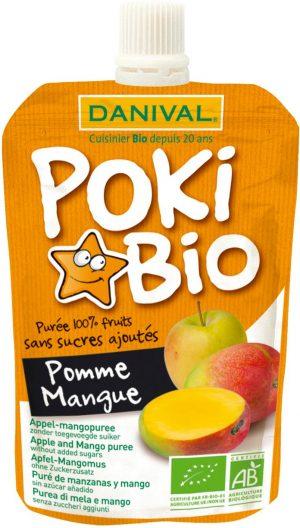 Poki - Przecier Jabłko, Mango 100% Owoców Bez Dodatku Cukrów Bip 90 g - Danival
