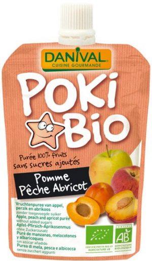 Poki - Przecier Jabłkowo-Brzoskwiniowo-Morelowy 100% Owoców Bez Dodatku Cukrów Bio 90 g - Danival