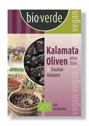 Oliwki Czarne Kalamata Bez Pestki 150g- Bio Verde