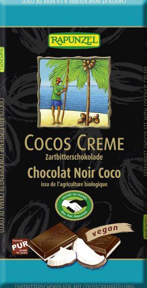 Czekolada Gorzka z Nadzieniem Kokosowym Wegańska Fair Trade Bio 100 g - Rapunzel