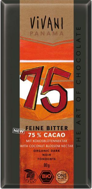 Czekolada Gorzka 75% Kakao Bio 80 g - Vivani