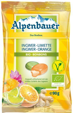 Cukierki z Nadzieniem o Smaku Imbirowo- Limonkowym i Imbirowo- Pomarańczowym Vegan Bio 90 g - Alpenbauer