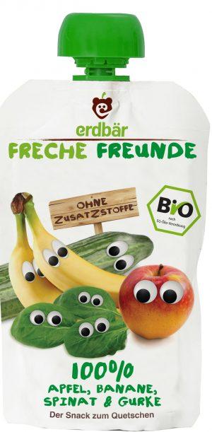 Mus Banan, Szpinak, Ogórek Bio 100 g - Erdber