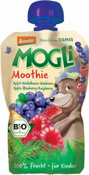 Moothie - Przecier Jabłkowy z Bananem, Jagodą i Maliną 100% Owoców Bez Dodatku Cukrów Bio 100 g - Mogli