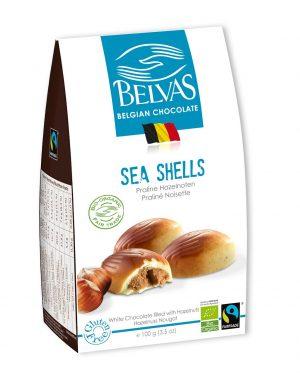 Belgijskie Czekoladki Białe z Nadzieniem Orzechowym Sea Shells Bezglutenowe Fair Trade Bio 100 g - Belvas