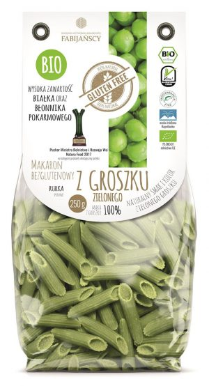 Makaron (Z Groszku Zielonego) Rurka Penne Bezglutenowy Bio 250 g - Fabijańscy