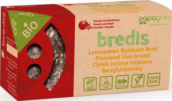 Chleb Lniany Suszony z Pomidarami i Bazylią Bio 70 g - Papagrin