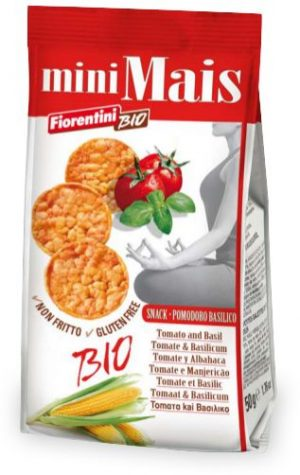 Krążki Kukurydziane z Pomidorami i Bazylią Bio 50 g - Fiorentini