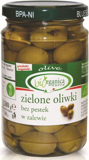 Oliwki Zielone Bez Pestek w Zalewie Bio 280 g - Biorganica Nuova
