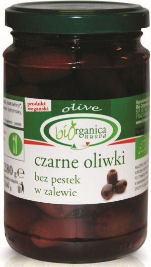 Oliwki Czarne Bez Pestek w Zalewie Bio 280 g - Biorganica Nuova