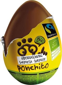 Jajko Niespodzianka Czekoladowe Bezglutenowe Fair Trade Bio 20 g - Ponchito