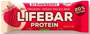 Baton Truskawkowy Proteinowy Proteinowy z Białkiem Ryżowym Bio 47 g - Lifefood