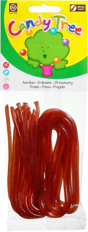 Żelki Nitki o Smaku Truskawkowym Bio 75 g - Candy Tree