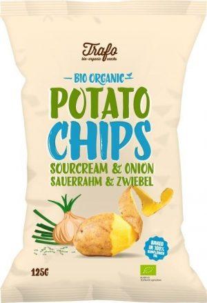 Chipsy Ziemniaczane o Smaku Śmietankowo-Cebulowym Bio 125 g - Trafo