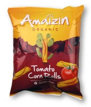 Chipsy Kukurydziane Rolls o Smaku Pomidorowym Bio 100 g - Amaizin