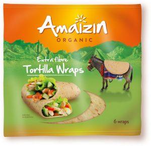 Tortilla Wraps z Otrębami (Źródło Błonnika Pokarmowego) Bio 240 g - Amaizin
