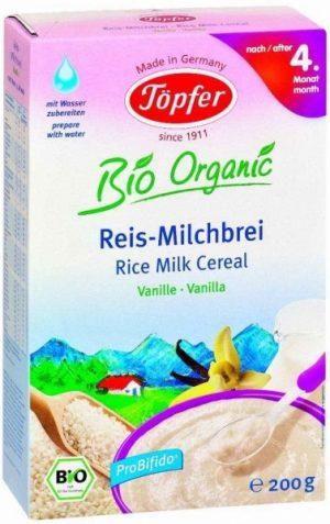 Kaszka Mleczna Ryżowa o Smaku Waniliowym Od 4 Miesiąca Bezgl. Bio 200 G, Topfer