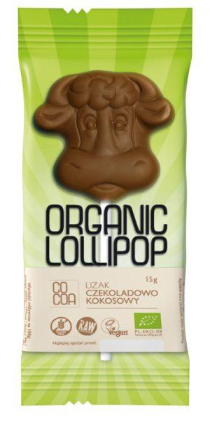 Lizak Czekoladowo- Kokosowy Bezglutenowy Bio 15 g - Cocoa