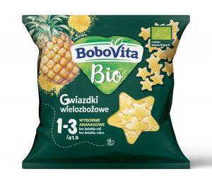 Chrupki Gwiazdki Wielozbożowe - Wybornie Ananasowe Po 1 Roku Bio 20 g - Bobovita