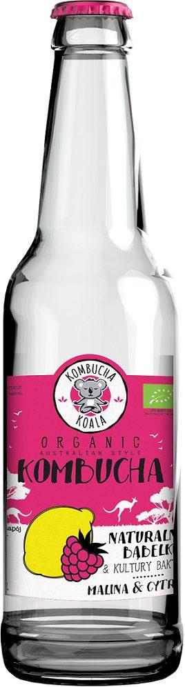 Kombucha o Smaku Maliny z Cytryną Bio 330 Ml - Kombucha Koala