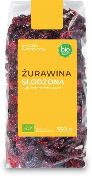 Żurawina Słodzona Cukrem Trzcinowym Bio 350 g - Bio Family