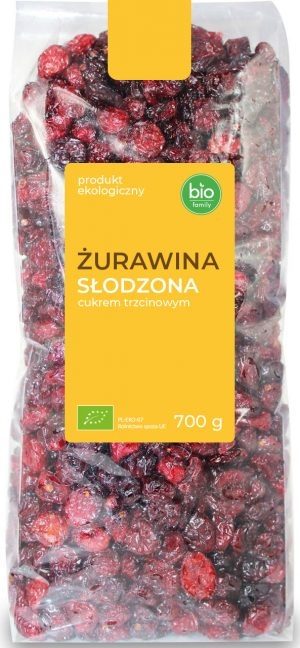 Żurawina Słodzona Cukrem Trzcinowym Bio 700 g - Bio Family