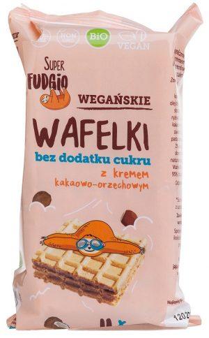 Wafle z Kremem Kakaowo-Orzechowym Bez Dodatku Cukru Bio 120g - Super Fudgio