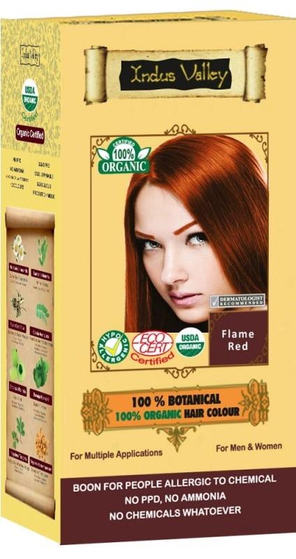 Ziołowa Farba z Henną, Płomienny Rudy, w 100% Ekologiczna, Certyfikowana - Ecocert, Vege, Halal, 120 G, Indus Valley