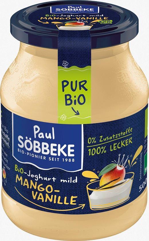 Jogurt Kremowy Mango - Wanilia (3,8 % Tłuszczu w Mleku) Bio 500 g (Słoik) - Sobbeke