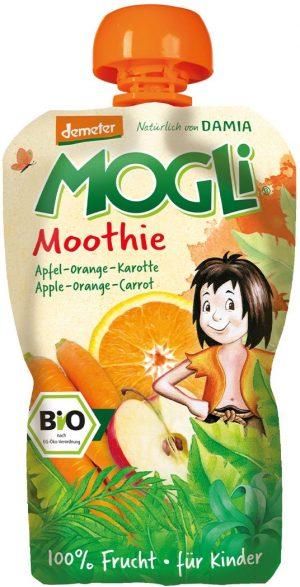 Moothie - Przecier Jabłkowy z Pomarańczą i Marchewką 100% Owoców Bez Dodatku Cukrów Bio 100 g - Mogli